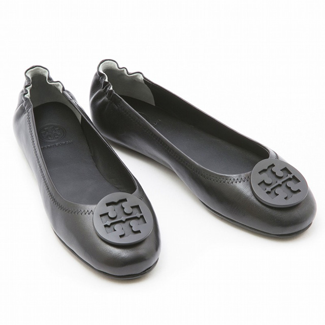 Tolly Birch TORY BURCH 51158251 Minnie Travel Ballet With Logo ballet shoes  lady Sumi NEET label black flat pumps shoes shoes new article present  Christmas