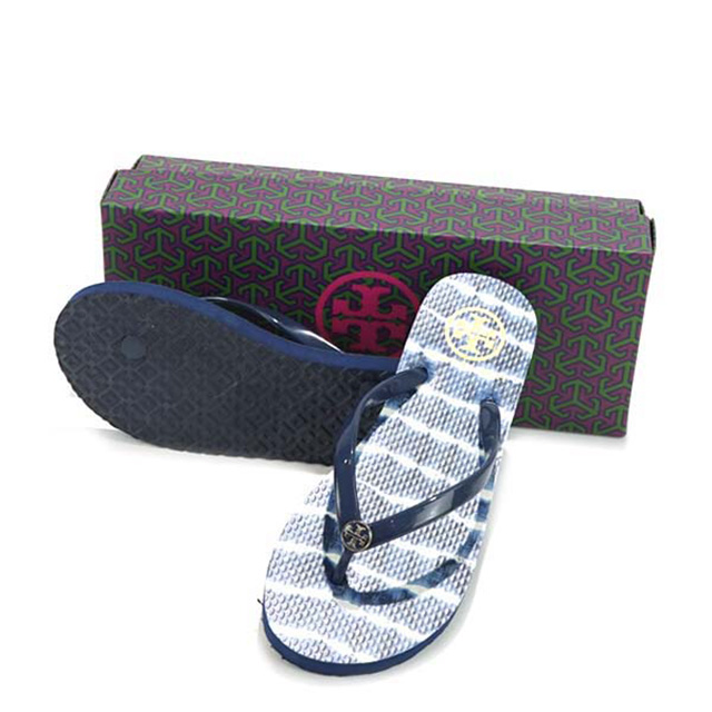 1c3750ee6 Tolly Birch TORY BURCH sandals 33872 432 CLASSIC FLIP FLOPS SANDAL Lady s  men navy sea beach sandal Lady s flat brand new article men fashion 履 きやすい  ...