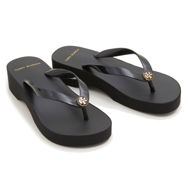 4a010daec6be Tolly Birch TORY BURCH sandals beach sandal 48211 009 CUT-OUT WEDGE FLIP  FLOP cutout wedge flip-flop BLACK black