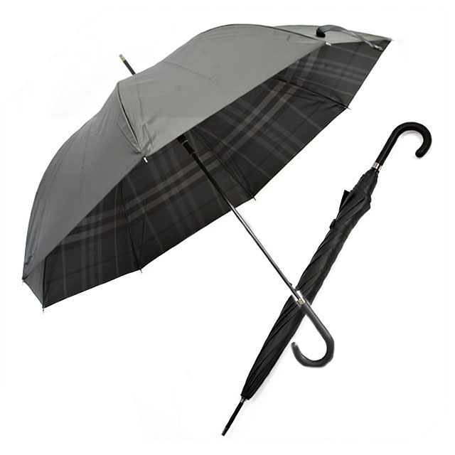 【BURBERRY】バーバリー かさ カサ 傘 チェックライニング 長傘 ブラック/ダークチャコールチェック レディース メンズ 男女兼用