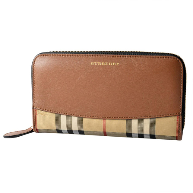 36c0f63288af Burberry BURBERRY round fastener long wallet hose ferry check tongue brown  tea long wallet men gap Dis wallet new article genuine leather leather brand  ...