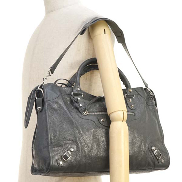 592e65878c2 ... Product made in バレンシアガ BALENCIAGA Silver City leather shoulder bag 2way  Lady's editors bag black gray ...