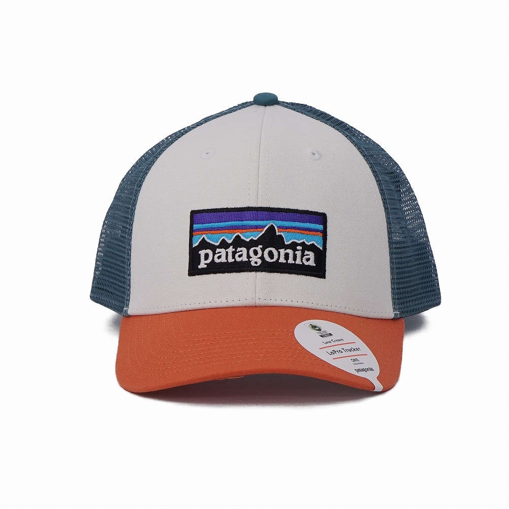 2ad09376ce Patagonia patagonia mesh cap hat 38016 WHST P-6 Logo Lopro Trucker Hat P6  logo rope lot lacquer hat WHITE W SUNSET ORANGE white + orange + blue-green  system ...