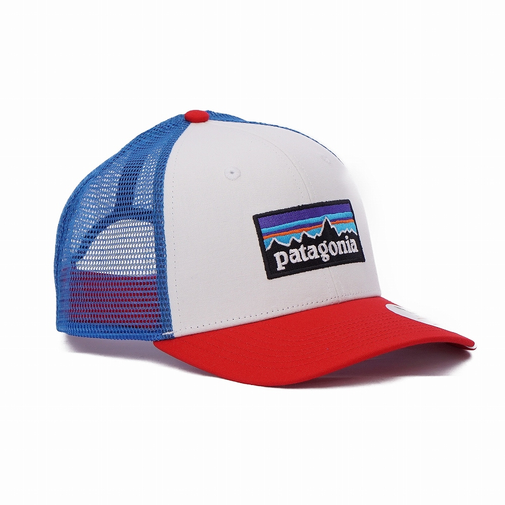 db99265fe Patagonia patagonia mesh cap hat 38017 WFAB P-6 Logo Trucker Hat P6 logo  trucker hat WHITE W/FIRE/ANDES BLUE white + red + ブルーマルチ
