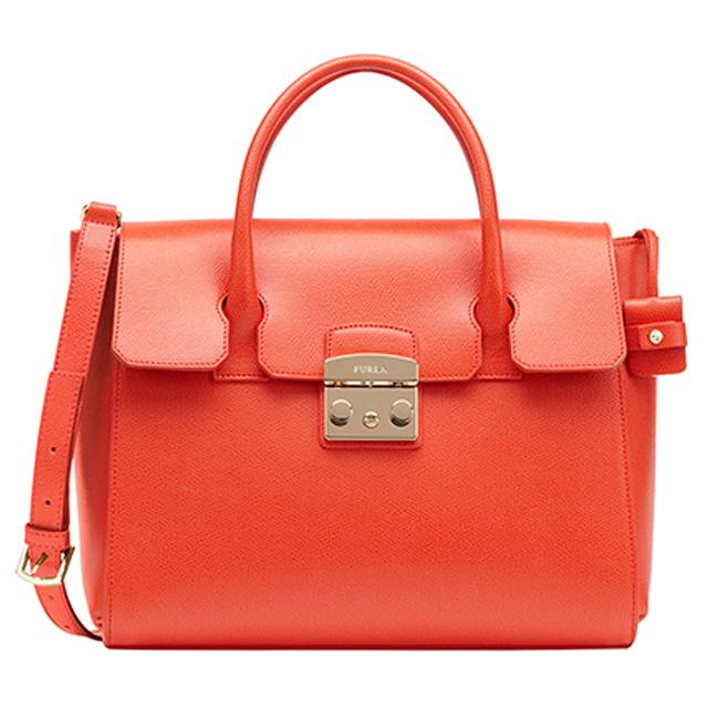 Furla Bag Tote Satchel Bgz8 Metropolis M Medium Shoulder 820700 Orange Brand Las Leather New Unused Gifts S