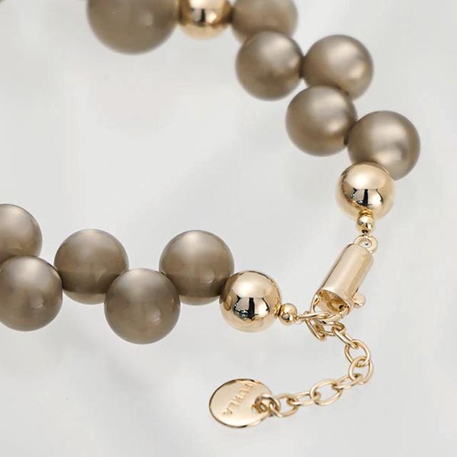 FURLA FURLA 吊坠项链女全新品牌配件饰品灰色 + 黄金珠真正的生日阵亡将士纪念日白色圣诞礼物礼物妇女他她礼品包装泡沫 CK72 751079 MST