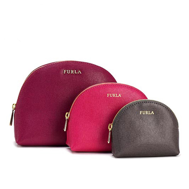 Furla Pouch Type Press Leather Cosmetic Porch Vanity Wristlet Las Por New
