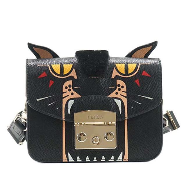 851a9d55f38f It is bag TONI ONYX black system animal pattern 881171 at フルラ FURLA BKK9  METROPOLIS JUNGLE MINI CROSSBO metropolis jungle mini-shoulder bag bias