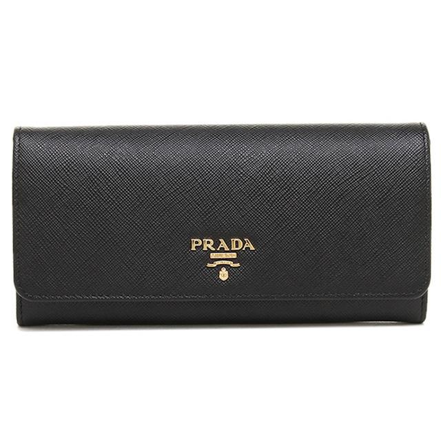プラダ PRADA 長財布 1MH132 QWA F0002 財布 サフィアーノ SAFFIANO レザー ブラック NERO+ゴールド