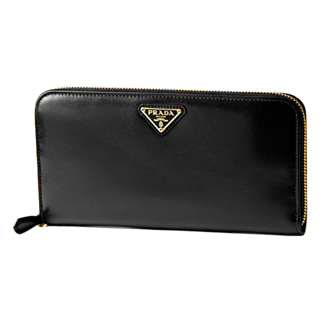 ce6348dd6f7f ... Prada PRADA wallet 1ML506 309 F0D9A00 BOX CALF boxcalf leather triangle  logo plate round fastener long ...