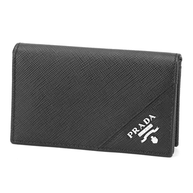 プラダ PRADA 名刺入れ カードケース 2MC122 QME F0002 サフィアーノ SAFFIANO レザー ブラック NERO+シルバー