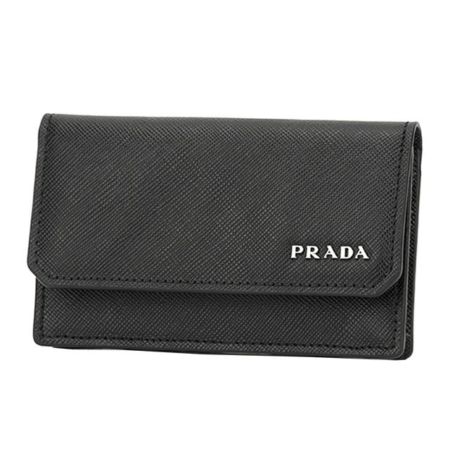 プラダ PRADA 名刺入れ カードケース 2MC122 QTD F0002 サフィアーノ SAFFIANO レザー ブラック NERO+シルバー