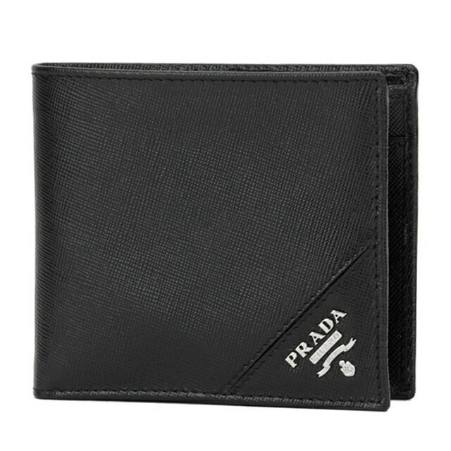 プラダ PRADA 二つ折り財布 小銭入れ付き コインケース付き ブラック+シルバー