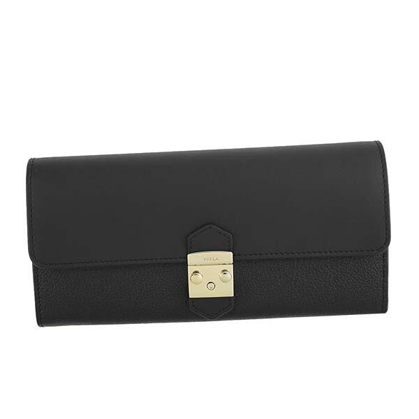 フルラ FURLA 二つ折り長財布 フラップ長財布 かぶせ式 PU37 964015 METROPOLIS XL BIFOLD メトロポリス ONYX ブラック