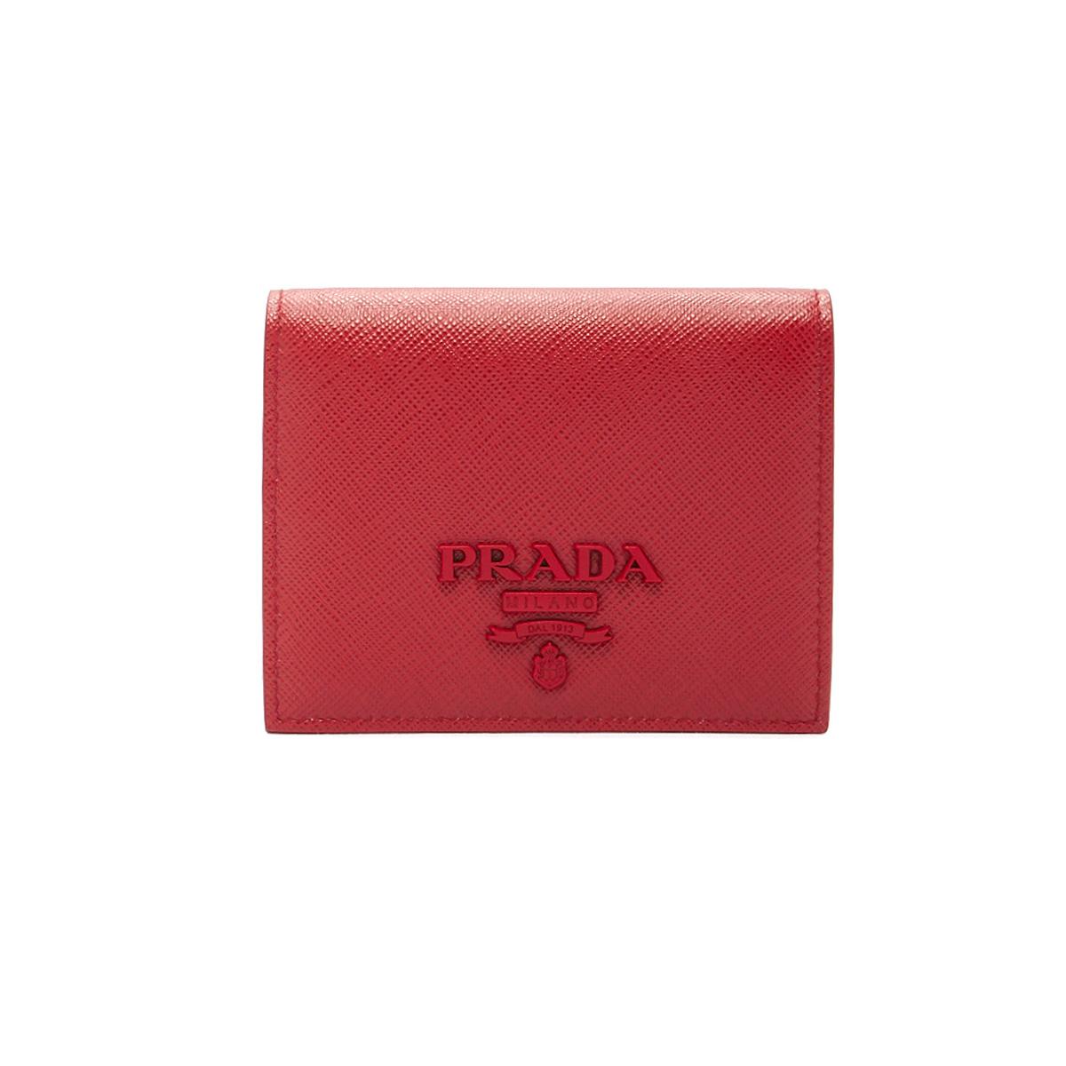 プラダ PRADA 財布 LEATHER WALLET レザー ウォレット 1MV2042EBW 小銭入れ付き 二つ折り財布 F068Z FUOCO レッド系