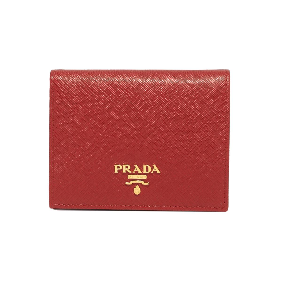 プラダ PRADA 財布 LEATHER WALLET レザーウォレット 1MV204QWA 小銭入れ付き 二つ折り財布 F068Z FUOCO レッド系