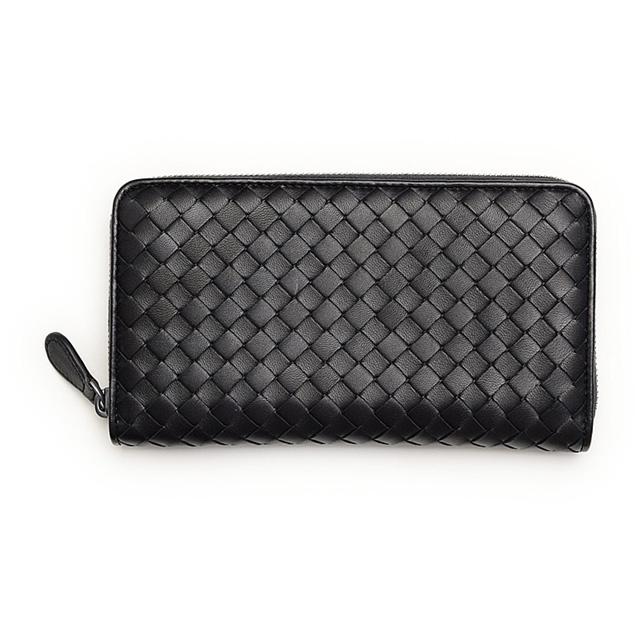 532430d69e7a Bottega Veneta BOTTEGA VENETA 275064 V001N1000 intrecciato nappa leather  zip around wallet long zip around purse with coin purse black Nero