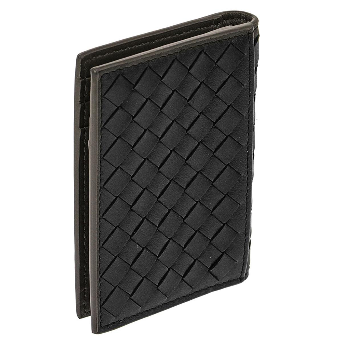 ボッテガヴェネタ BOTTEGA VENETA イントレチャート VN ナッパ カードケース 464902 V465U 8885 二つ折りカードケース ネロ ニューライトグレー ブラック+ライトグレー 黒 灰