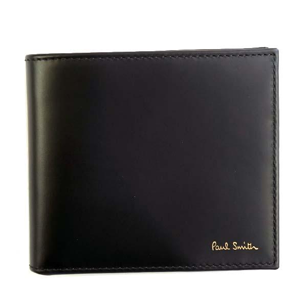 ポールスミス Paul Smith 財布 二つ折り財布 ATXC4833 W761 79 MEN WALLET BFLD COIN INTMUL BK ブラック+マルチストライプ