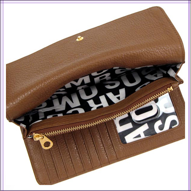 Three mark by mark Jacobs wallet long wallets fold Lady's coin purse  popularity leather brown CINNAMON STICK CLASSIC Q popularity MARC BY MARC  JACOBS