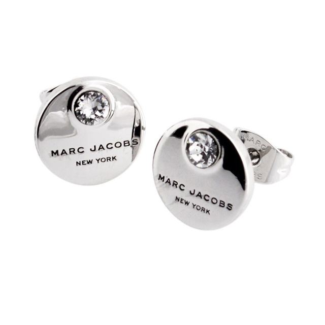 Marc Jacobs Earrings Brand M0009098 169 Crystal Silver Mj Coin Studs Stud