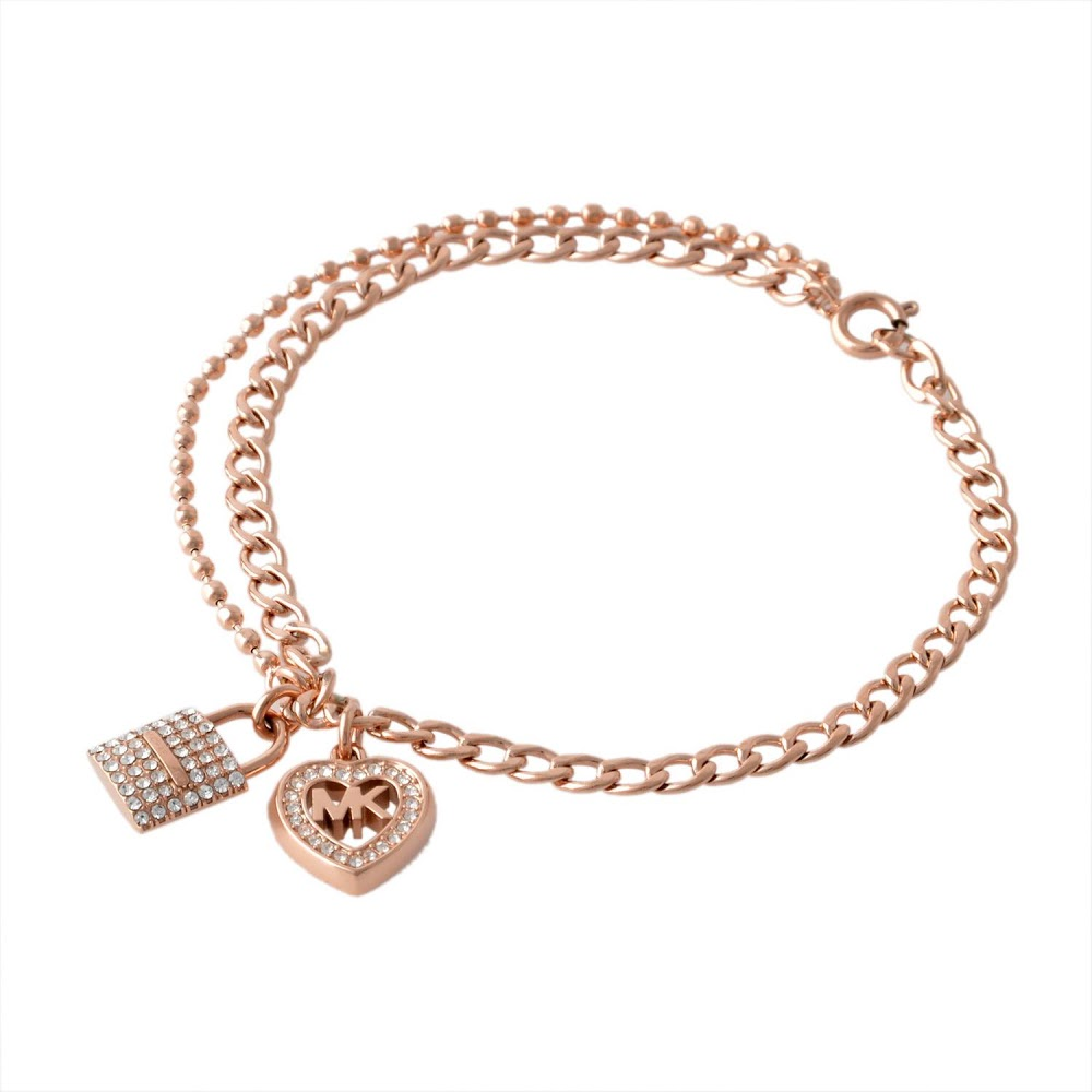 4b45b64a09ff9 Michael Kors MICHAEL KORS Michael Kors MK ロゴハートパドロックパヴェチャームチェーンブレスレットバングル  MKJ7178791 LOVE IS IN THE AIR pink gold Lady s ...
