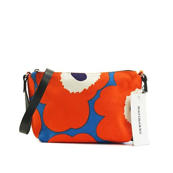 マリメッコ marimekko ショルダーバッグ 斜めがけバッグ 046450 351 SHOULDER BAG HELI PIENI UNIKKO ウニッコ オレンジ+ブルー系マルチ