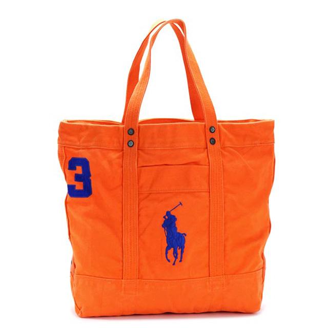 ポロ ラルフローレン POLO RALPH LAUREN トートバッグ キャンバストート BIG PP TOTE ビッグポニー ロゴ刺繍 BIKE ORANGE オレンジ+ブルー 405532853 019