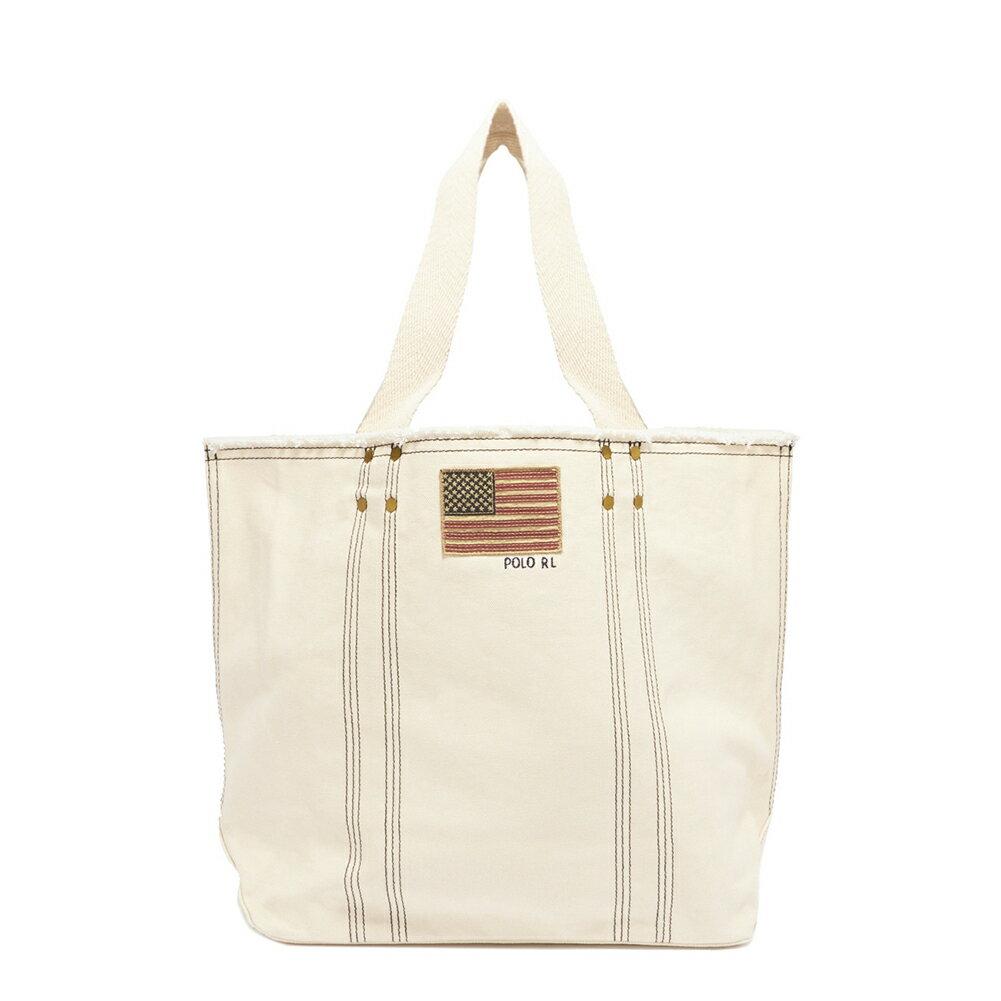 ラルフローレン Ralph Lauren バッグ トートバッグ ショルダーバッグ LG FLAG TOTE ラージ フラッグ トート 428716089 001 WHITE ホワイト