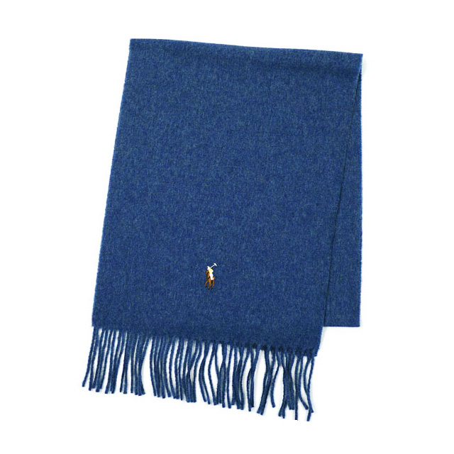 Polo Ralph Lauren scarf mens brand POLO by Ralph Lauren wool scarf small pony scarf 6F0200 blue