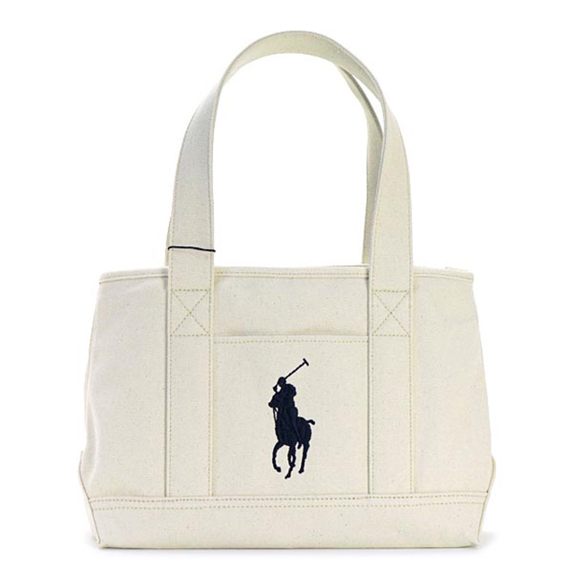 46e9d7f4b534 Polo Ralph Lauren Polo Ralph Lauren tote bag school big pony Lady s men  canvas shoulder bag tote bag shoulder back white navy white dark blue size  new work ...