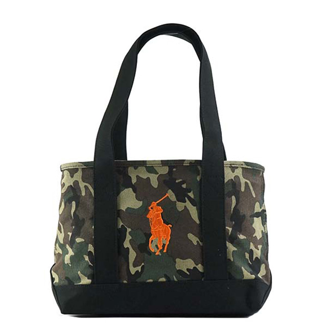 e3edc9328a Polo Ralph Lauren POLO RALPH LAUREN tote bag POLO PONY TOTE MD pony logo  embroidery CAMO+BLACK+ORANGE PP camouflage + black + orange RA100031A
