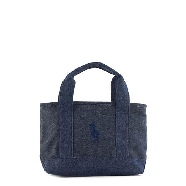 Polo Ralph Lauren POLO RALPH LAUREN pony logo embroidery mini-tote bag mini-bag  handbag RA100047A POLO PONY TOTE SM denim + navy