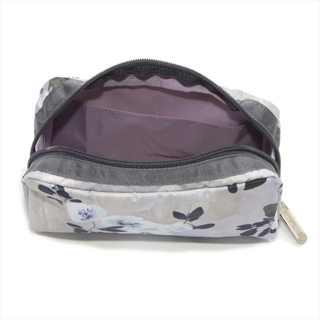 Reply port case LeSportsac porch cosmetics porch RECTANGULAR COSMETIC  rectangular cosmetic LYRICAL FROST flower pattern light gray system 6511  E015