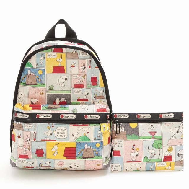 レスポートサック LeSportsac バックパック リュックサック Basic Backpack ベーシックバックパック PEANUTS SNOOPY PATCHWORK スヌーピー PEANUTSコラボレーション 7812 P687