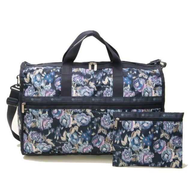 Reply port case LeSportsac bag LARGE WEEKENDER 7185 E142 large week ender 2way  shoulder Boston bag NIGHT BLOOMS BLUE flower pattern navy system 0dc5f1059d499