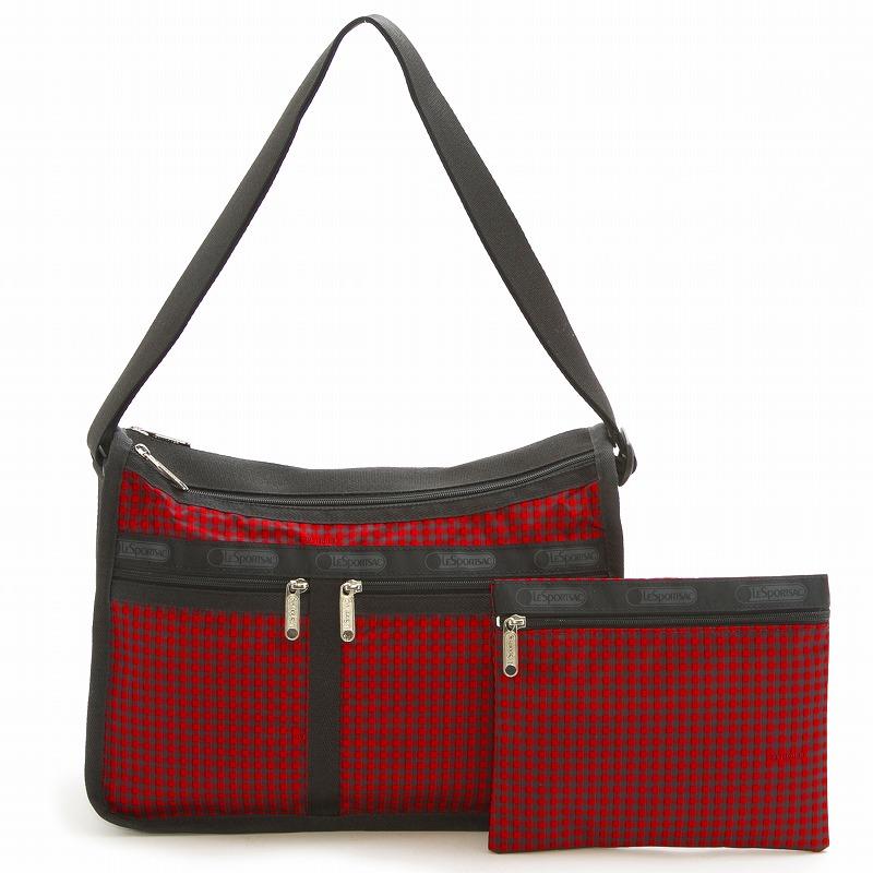 レスポートサック LeSportsac ショルダーバッグ 斜めがけバッグ 7507 D912 Deluxe Everyday Bag デラックスエブリデイバッグ HAPPY CHECK チェック柄レッド系マルチ