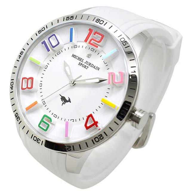 ミッシェルジョルダンスポーツ michel Jurdain SPORT 腕時計 天然ダイヤモンド入り シリコンベルト メンズ ウォッチ ホワイト×ホワイト×シルバー 送料無料