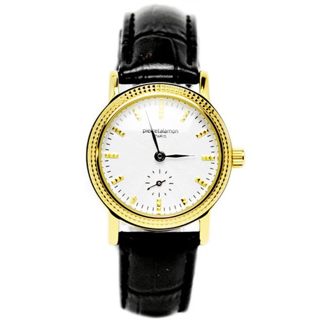 pierre talamon ピエールタラモン 腕時計 pt-5100l-4 スモールセコンドローマインデックスレディースウォッチ ブラック ゴールド 送料無料