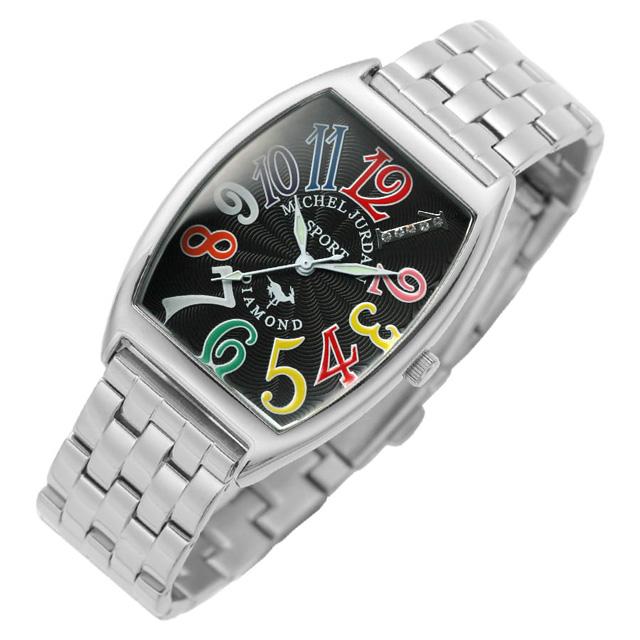 ミッシェルジョルダンスポーツ michel Jurdain SPORT 腕時計 天然ダイヤモンド入り メンズ メタルバンド ウォッチ ブラックxマルチカラー 送料無料