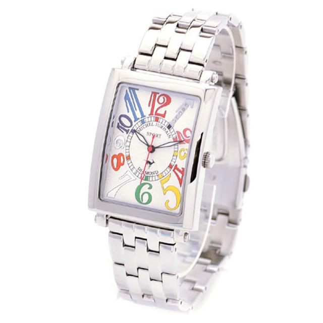 ミッシェルジョルダンスポーツ michel Jurdain SPORT 腕時計 天然ダイヤモンド入り メンズ メタルバンド ウォッチ ホワイト×マルチカラー 送料無料