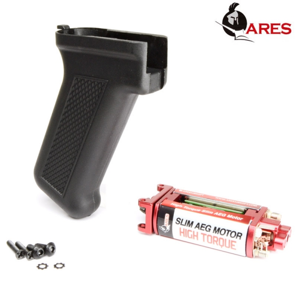 ARES AK スリムピストルグリップ ブラック + ハイトルク スリム AEG モーター セット サバゲー,サバイバルゲーム,ミリタリー
