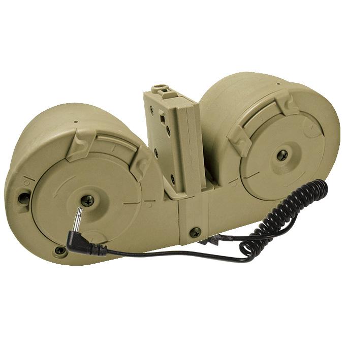 ICS 電動給弾式 ドラムマガジン for 電動M4 デザートカラー サバゲー,サバイバルゲーム,ミリタリー