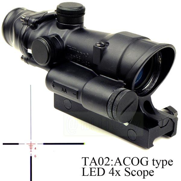 TA02:ACOG タイプ レティクル発光 4倍スコープ サバゲー,サバイバルゲーム,ミリタリー