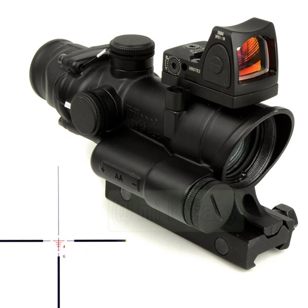 TA02/ RMR :ACOG タイプ レティクル発光 4倍スコープ & RMRドットサイト BK