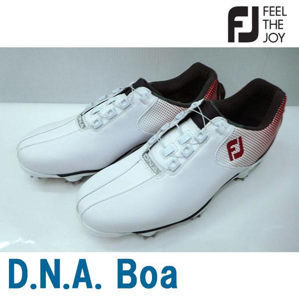 Footjoy フットジョイ 男性用 メンズ ゴルフ シューズ D.N.A. Boa #53331 ホワイト+レッド+ネイビー SU076