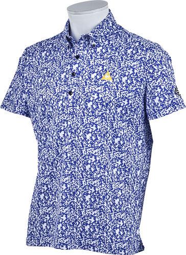 le coq GOLF ルコック メンズ 春夏ゴルフウェア 8bitカモフラージュプリント半袖シャツ QGMPJA10 (BL00)ブルー M:SSM538,L:SSM539