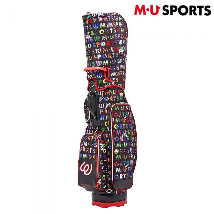 M・U SPORTS ミエコ・ウエサコ ゴルフ 女性用 レディース カラフルロゴプリントキャディバッグ(703P1104)ブラック/8.5型/2.7kg/送料無料