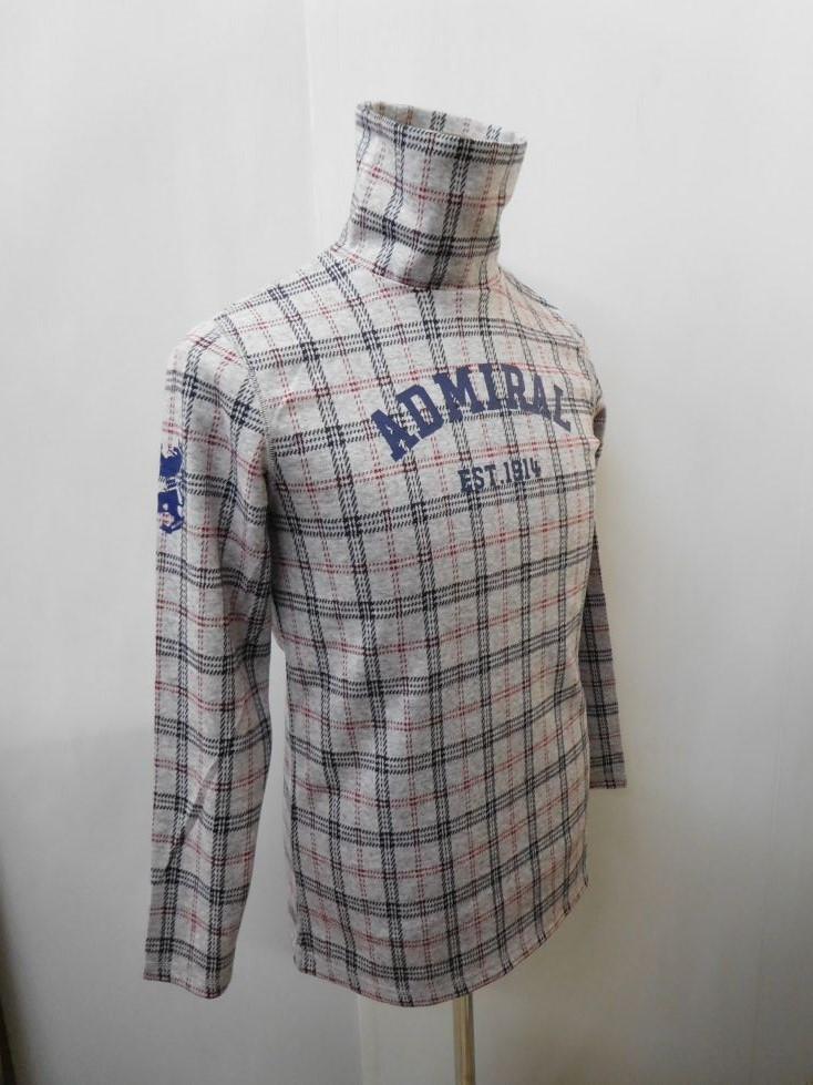 ゴルフウェア 秋冬 メンズウエア アドミラル チェック タートルネックシャツ ADMA7P8(00)M:AWM399 L:AWM400 LL:AWM401
