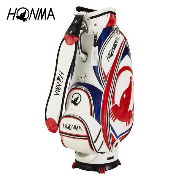 ゴルフ メンズ キャディバッグ 本間ゴルフ HONMA ホンマゴルフ モグラアクセントキャディバッグ CB-1810 ホワイト 白 9型